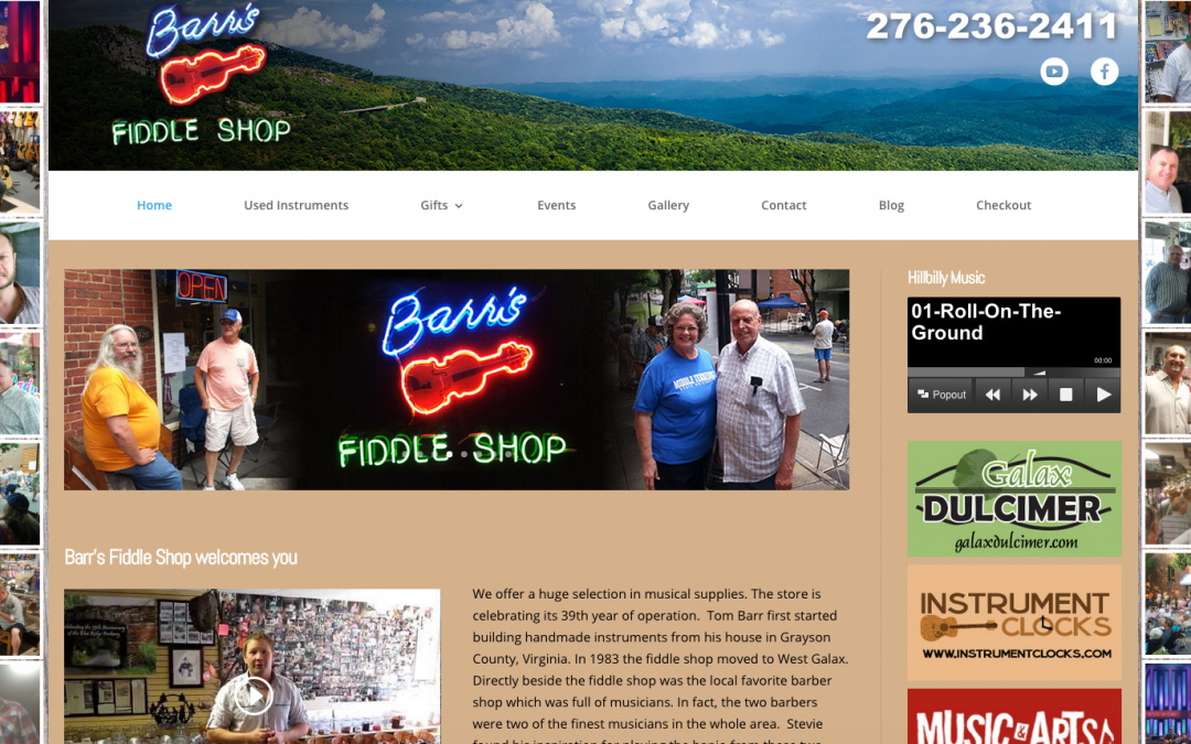 Barr's Fiddle Shop – New Website