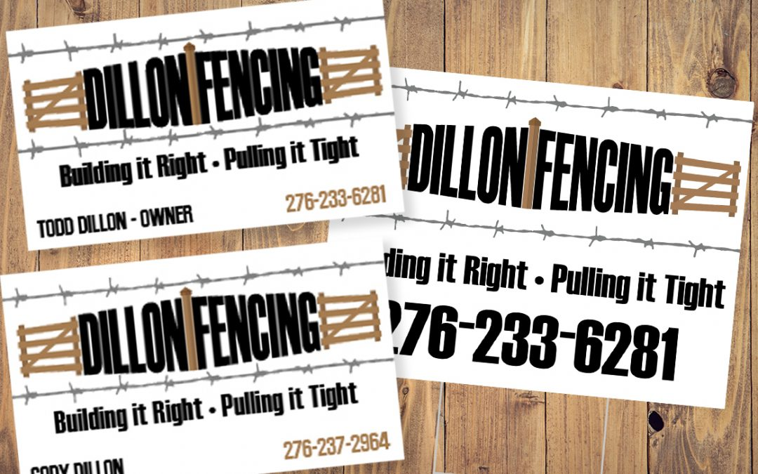 Graphic design archives manna graphics dillon fencing branding business cards yard signs reheart Images